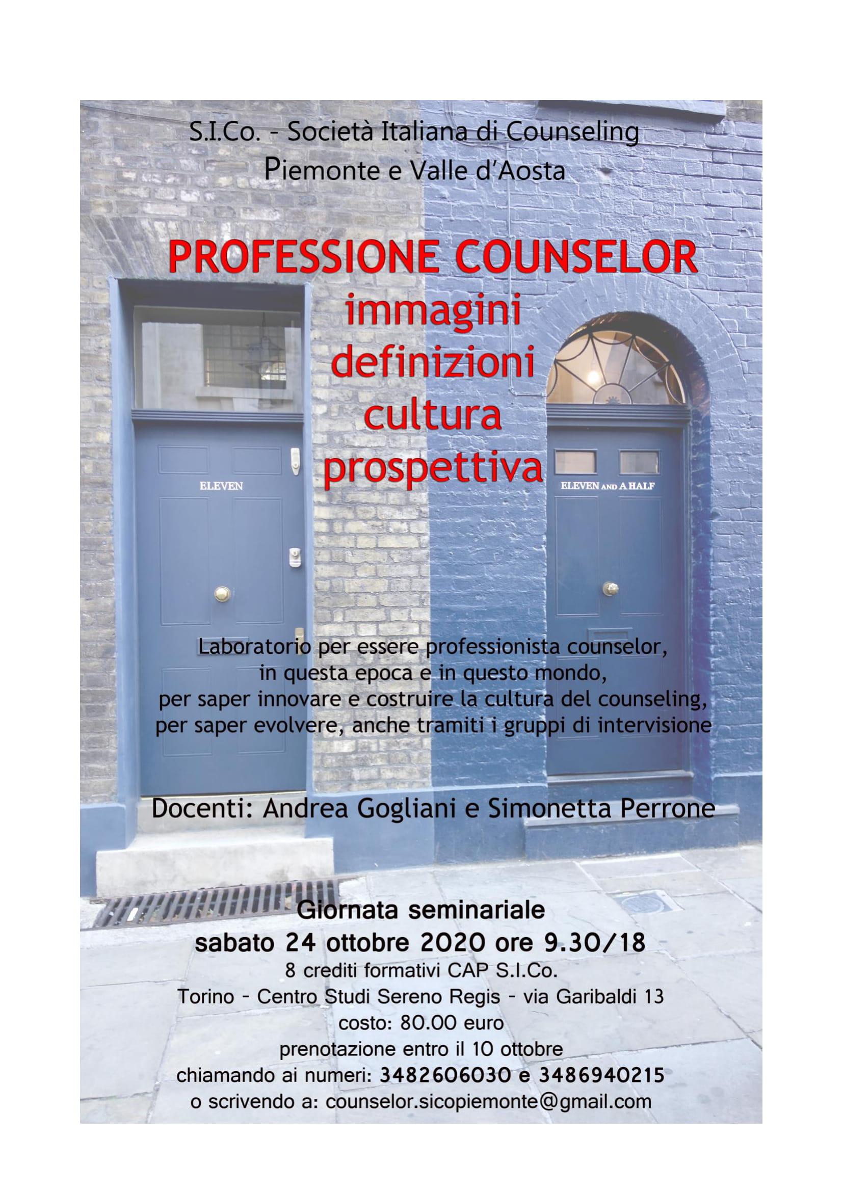 """TORINO (TO) – 24 ottobre 2020 – """" PROFESSIONE COUNSELOR """" – S.I.Co. Società Italiana di Counseling – Piemonte e Valle d'Aosta"""