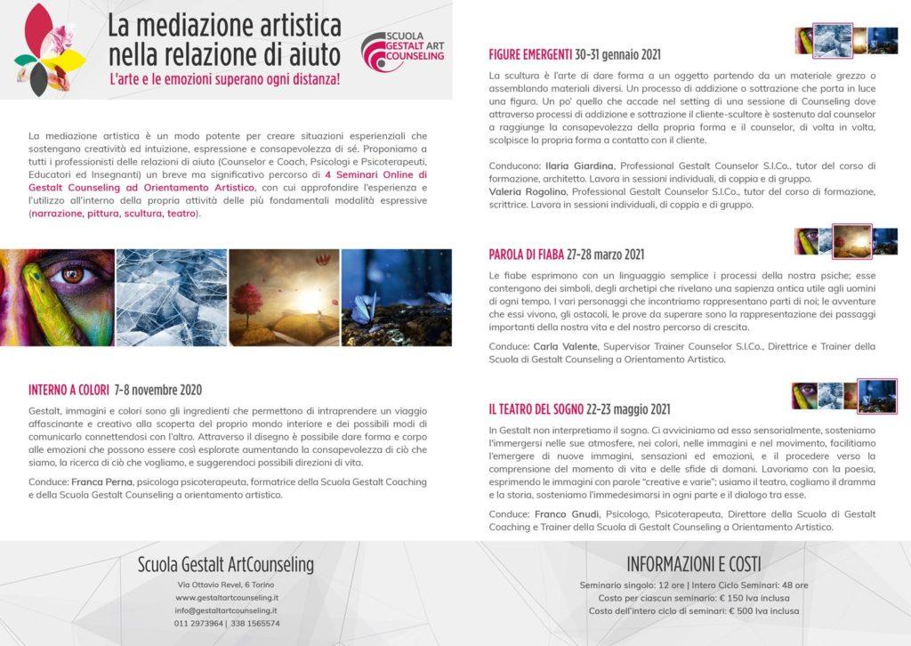 """Dal 07 novembre 2020 – """"La mediazione artistica nella relazione di aiuto"""" – Corso di aggiornamento online Scuola Gestalt Art Counseling – Torino"""