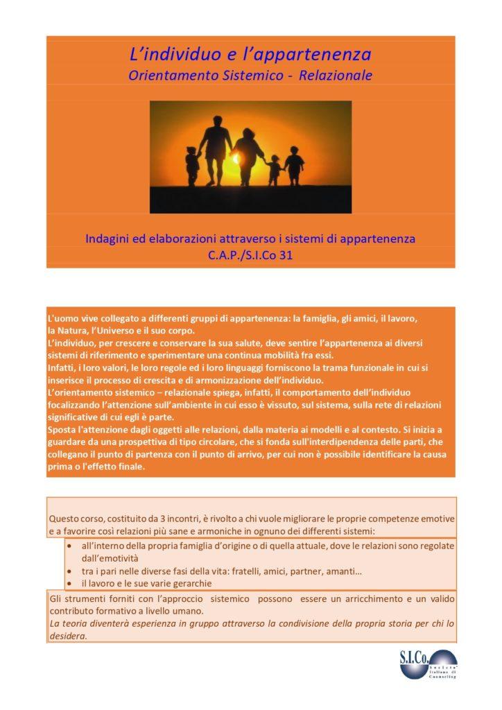 TARVISIO (UD) –  dal 03 ottobre 2020 – L'individuo e l'appartenenza  – Dr.ssa M. Dragonetti e Dr.ssa M.C. Robustelli – Supervisor Trainer Counselor