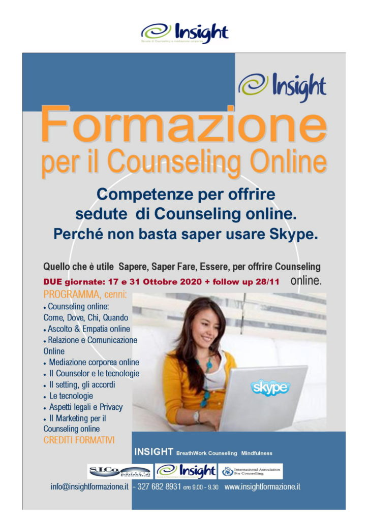 Da Sabato 17 ottobre 2020 – FORMAZIONE per il Counseling Online – INSIGHT BreathWork Counseling Mindfulness – Milano