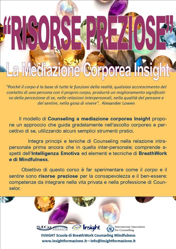 """22 novembre e 12 dicembre 2020 da remoto – """"RISORSE PREZIOSE"""" La Mediazione Corporea Insight – INSIGHT BreathWork Counseling Mindfulness – Milano"""