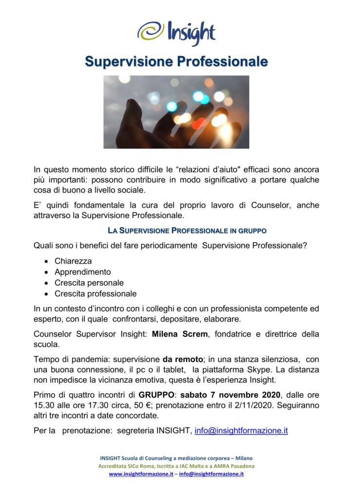 """Dal 7 novembre 2020 da remoto – """"Supervisione Professionale"""" – INSIGHT Scuola di Counseling a mediazione corporea  – Milano"""
