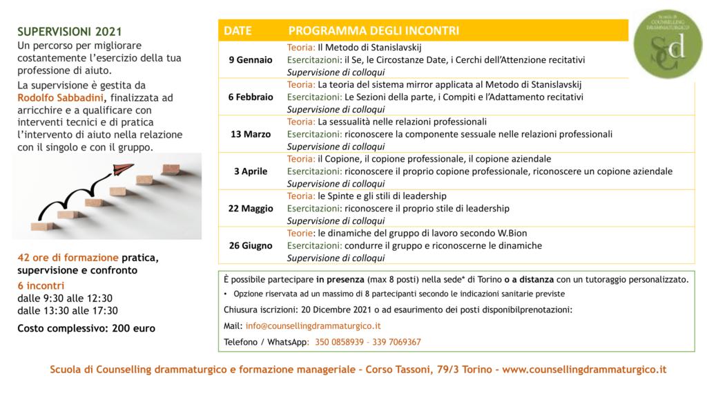 TORINO (To) Dal 09 gennaio 2021 –  SUPERVISIONI 2021 – Scuola di Counselling drammaturgico e formazione manageriale