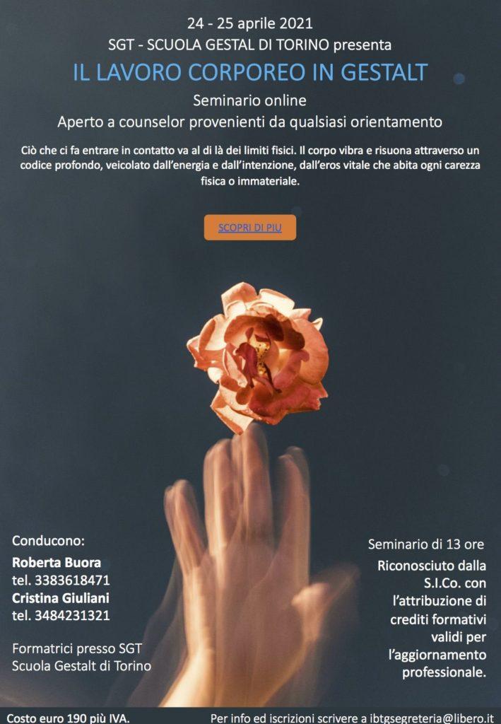 24 e 25 aprile 2021 – IL LAVORO CORPOREO IN GESTALT – Seminario Online – SGT Scuola Gestalt di Torino