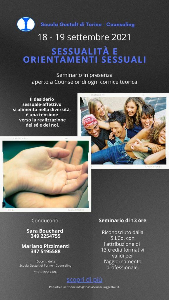 """TORINO – 18 e 19 settembre 2021 – Seminario in presenza """"SESSUALITA' E ORIENTAMENTI SESSUALI"""" – Scuola Gestalt di Torino – Counseling"""