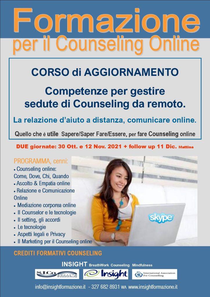 Dal 30 ottobre 2021 – FORMAZIONE per il Counseling Online  – INSIGHT BreathWork Counseling Mindfulness – Milano