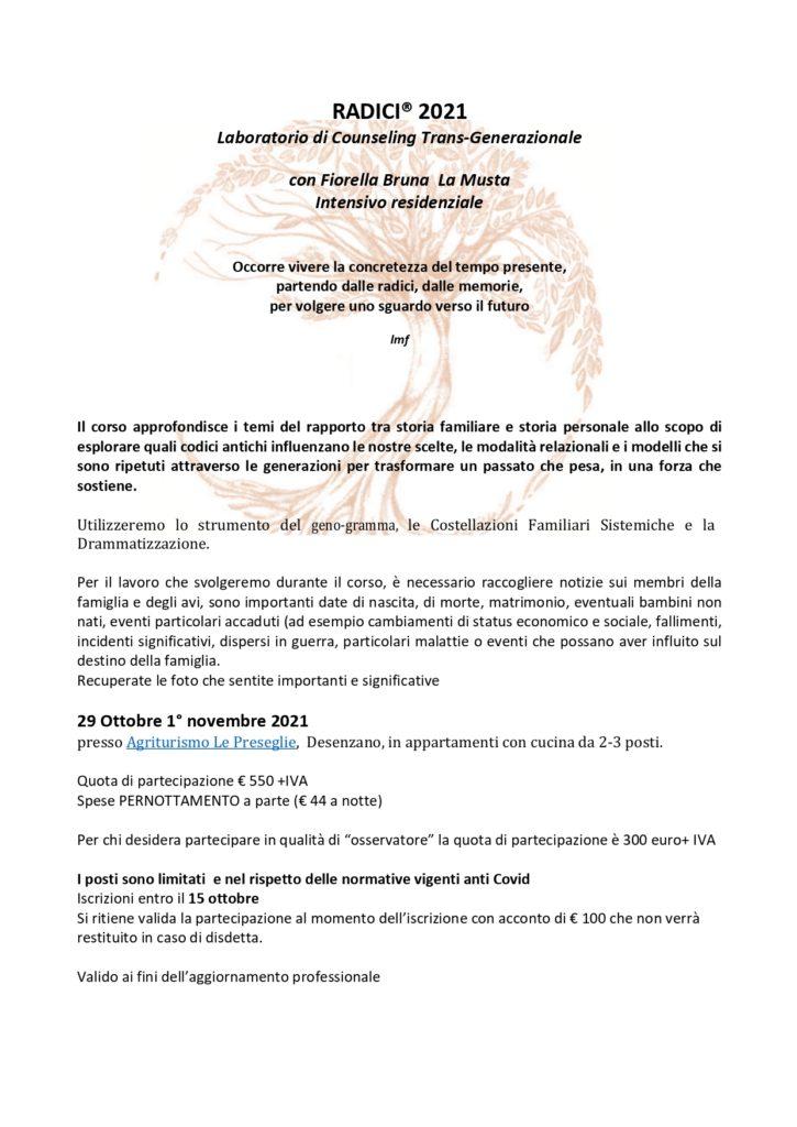 """Desenzano d/Garda (BS) – Dal 29 ottobre al 1° novembre 2021 – """"Laboratorio di Counseling Trans-Generazionale – con Fiorella Bruna La Musta"""